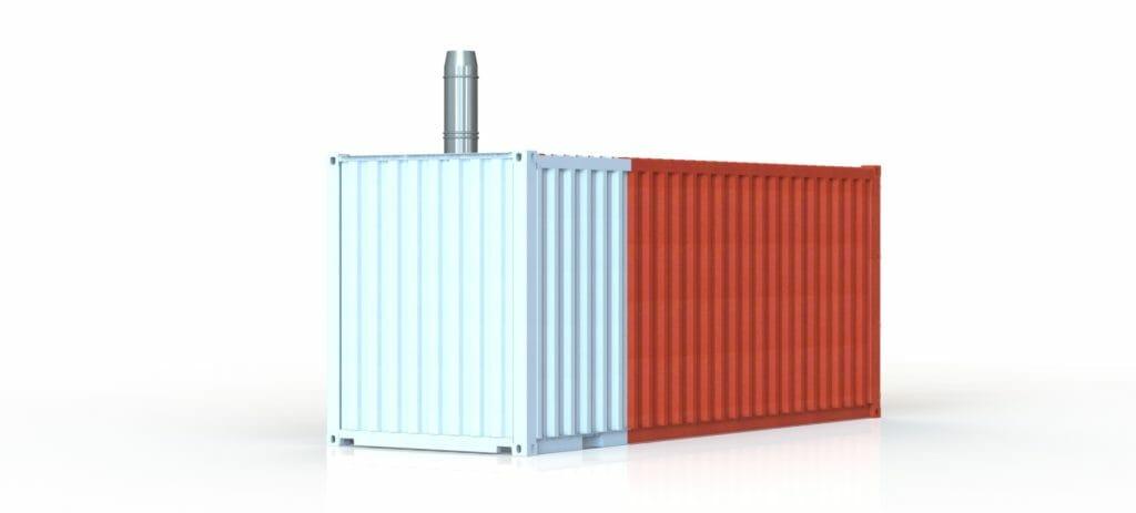 Heizcontainer kaufen und aufstellen zweifarbig lackiert rot und hellblau