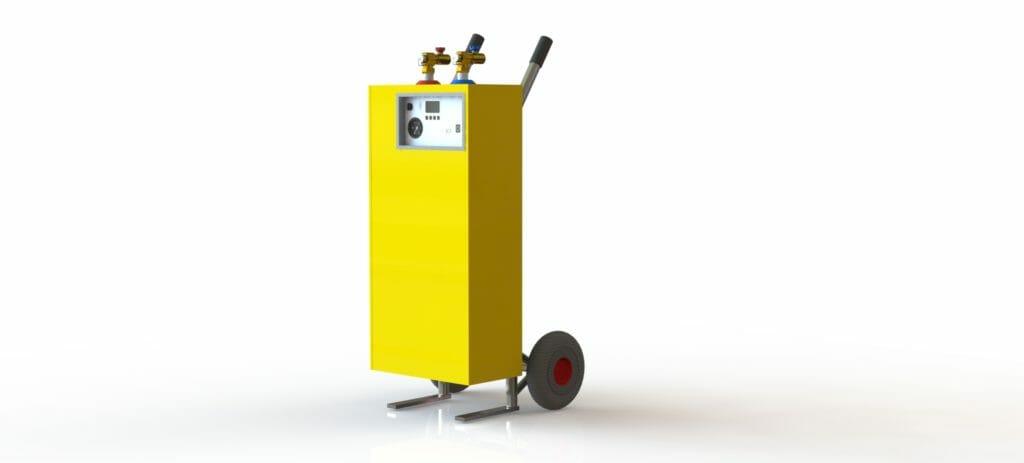 Grafik Mobile Elektroheizung zum mieten in gelb 400 V