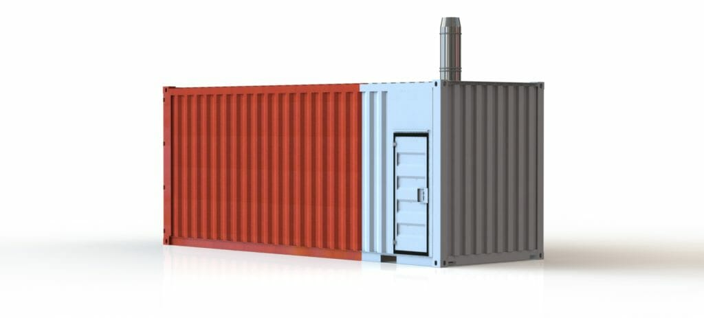 Heizcontainer mieten blau rot