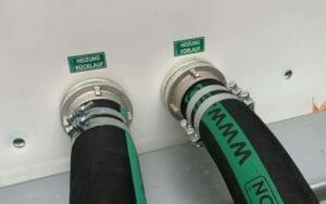 Anschluss einer mobilen Heizung mit Vorlauf und Rücklauf Schlauch DN 80 mit Storz Kupplung