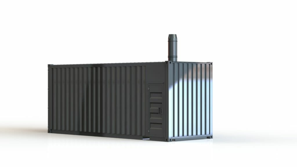 Mobiler Heizcontainer zum mieten mit Abgasrohr
