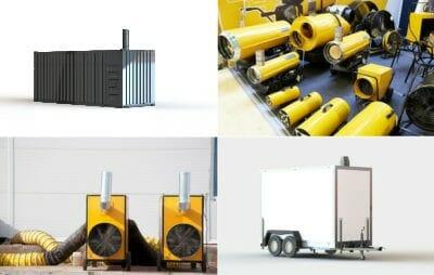 Heizcontainer, mobile Heizzentrale, Warmlufterzeuger und Heizkanone